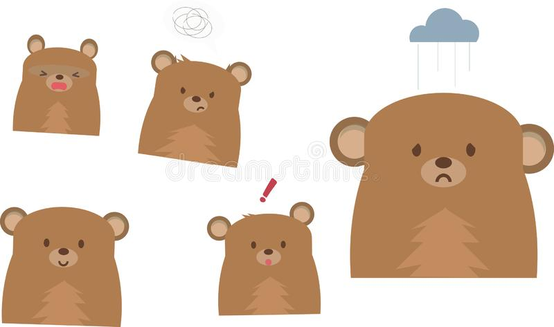 Gullig björnemojivektor på en vit bakgrund royaltyfri illustrationer