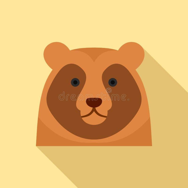 Gullig björnhuvudsymbol, lägenhetstil vektor illustrationer