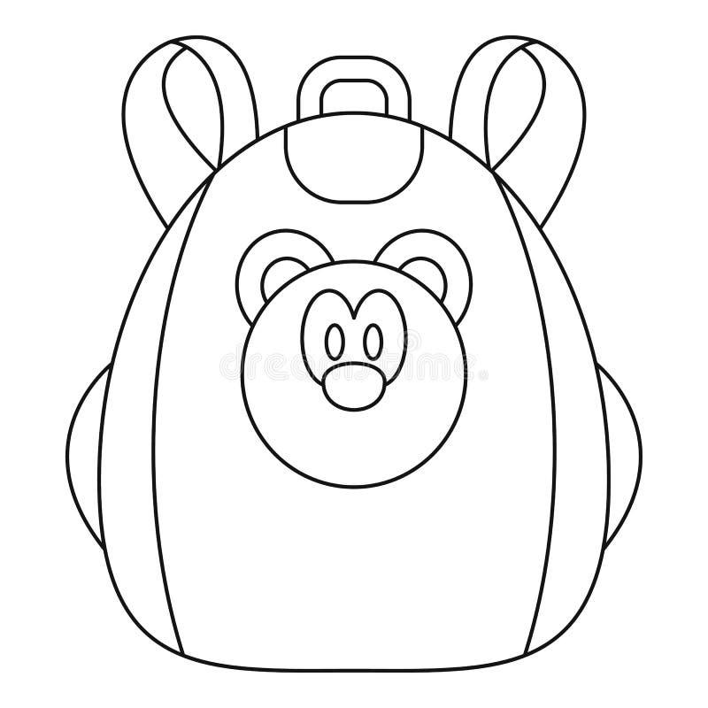 Gullig björnryggsäcksymbol, översiktsstil royaltyfri illustrationer