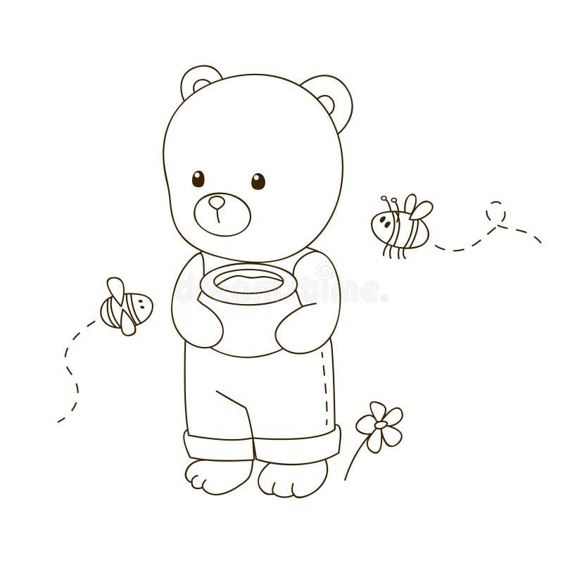 gullig björntecknad film vektor illustrationer