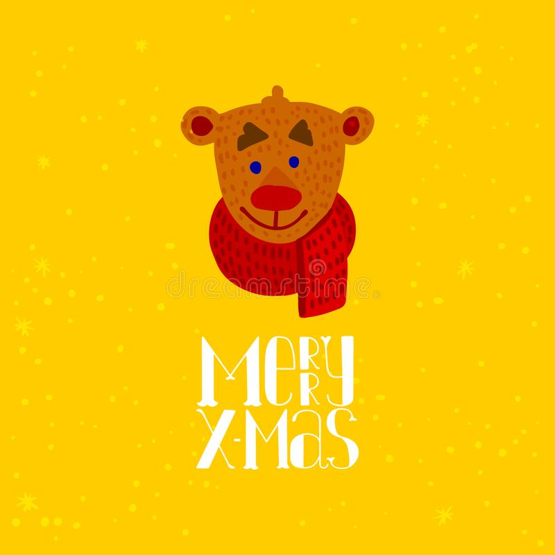 Gullig björntecknad film för glad jul stock illustrationer