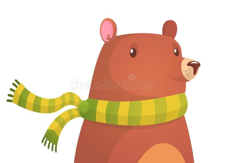 gullig björntecknad film Vektorillustration av en björn royaltyfri illustrationer