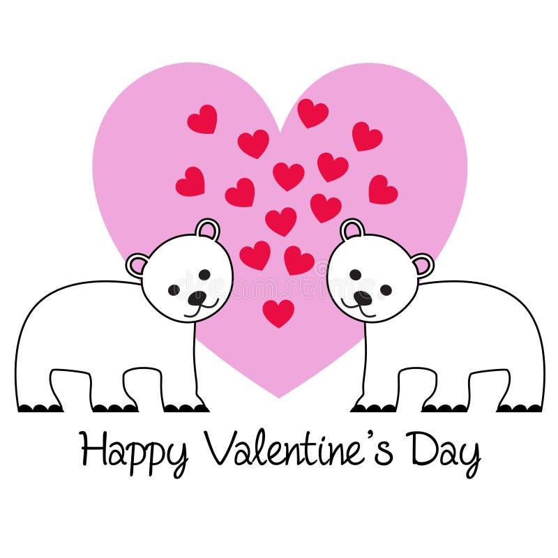 Gullig björnvalentin på rosa hjärta vektor illustrationer