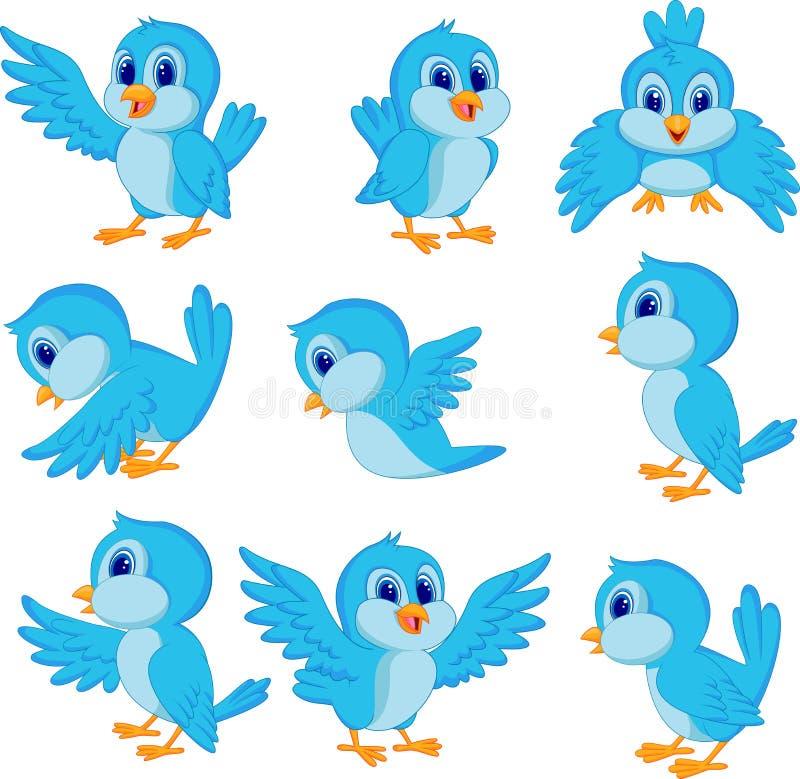 Gullig blå fågeltecknad film stock illustrationer