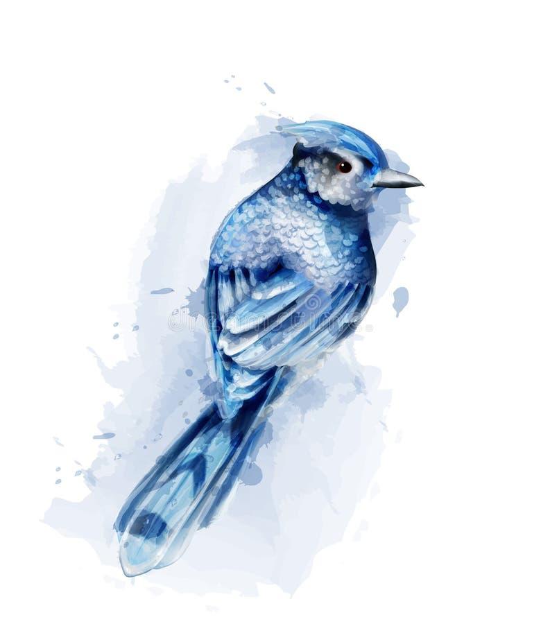 Gullig blå fågelvattenfärgvektor som isoleras på vit Tappningdesigner royaltyfri illustrationer