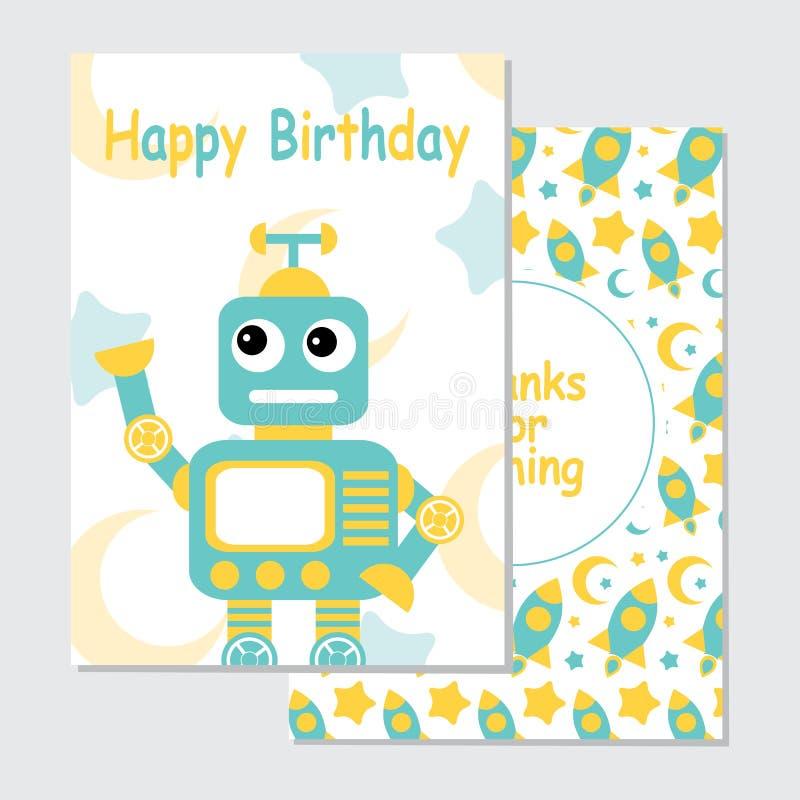 Gullig blå robot på raketbakgrund som är passande för födelsedaginbjudankort stock illustrationer