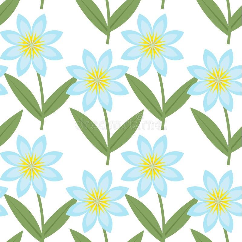 Gullig blått blommar den sömlösa modellen Blom- upprepande texturer för vår Ändlös bakgrund för sommar, papper, tapet stock illustrationer