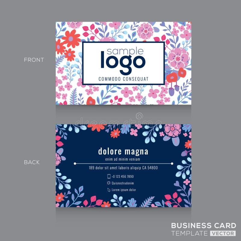 Gullig blom- design för kort för namn för modellaffärskort royaltyfri illustrationer