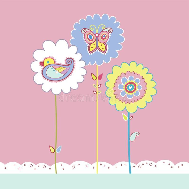 Gullig blom- design med fågeln och fjärilen stock illustrationer