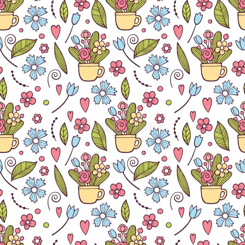 Gullig blom- modell i den lilla blomman Ditsy tryck Motiv spridde slumpmässigt seamless texturvektor elegantt stock illustrationer
