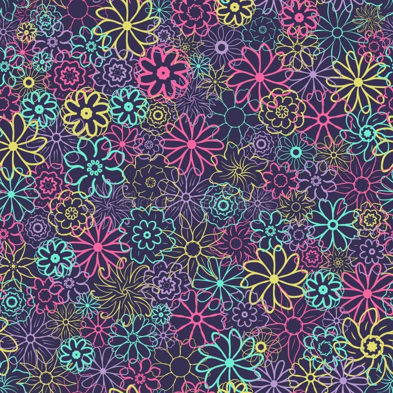 Gullig blom- modell i den lilla blomman Ditsy tryck seamless texturvektor Elegant mall för modetryck vektor illustrationer
