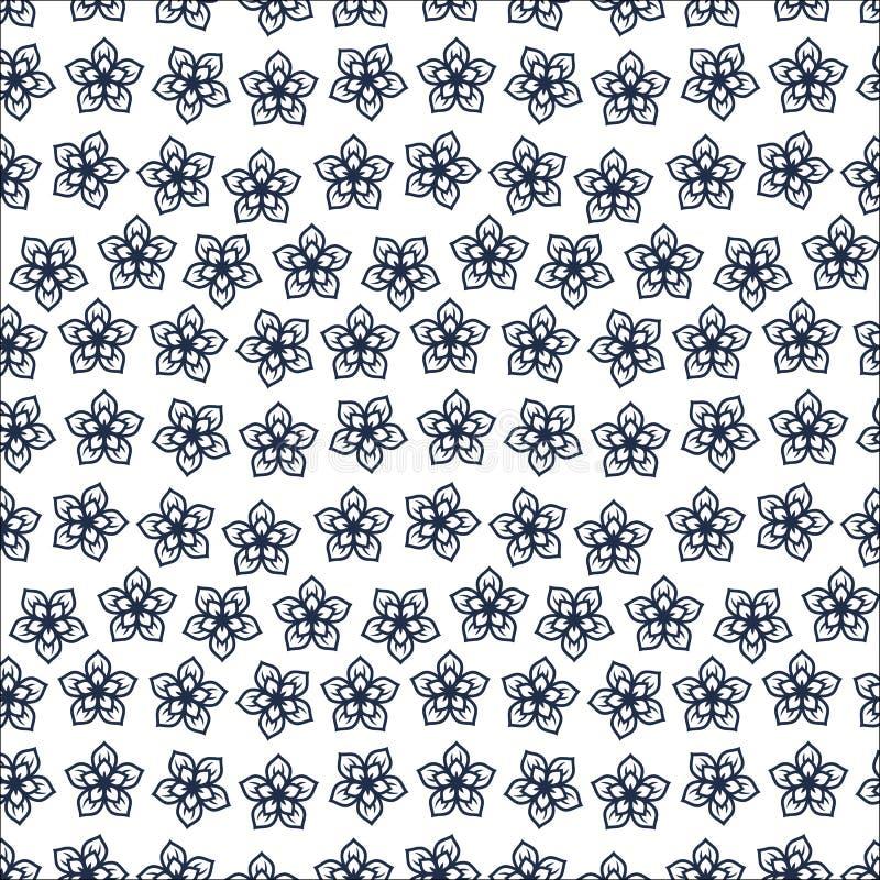 Gullig blom- modell i den lilla blomman Motiv spridde slumpmässigt seamless texturvektor Elegant tem_1 royaltyfri illustrationer