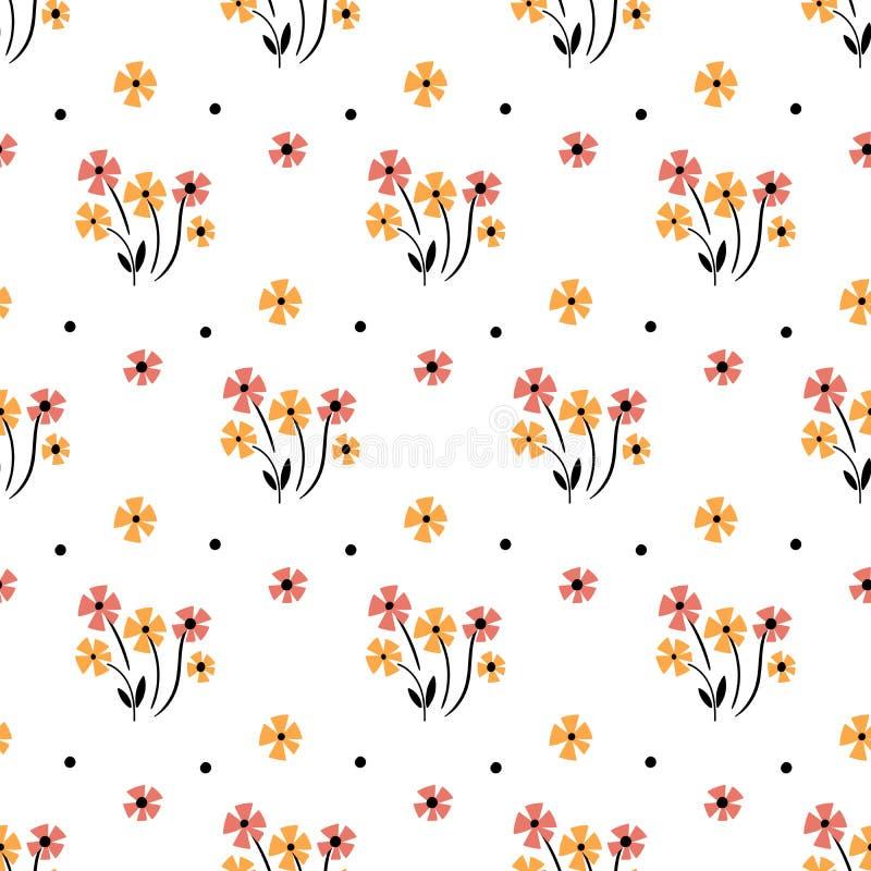 Gullig blom- modell i den lilla blomman Motiv spridde slumpm?ssigt seamless texturvektor vektor illustrationer