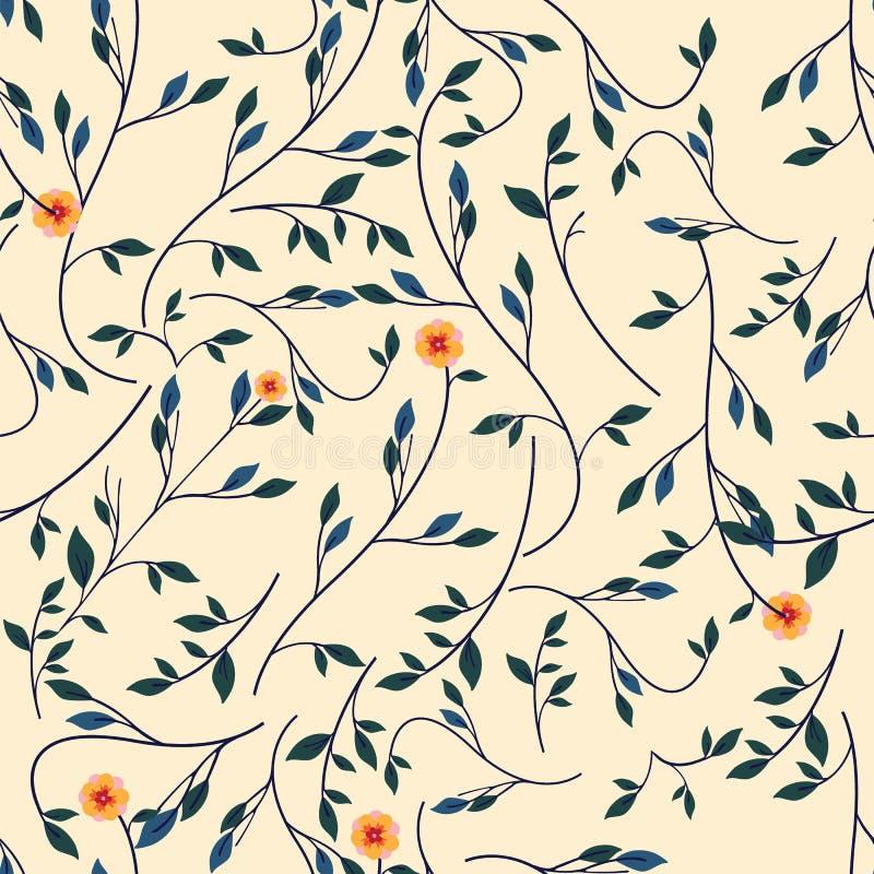 Gullig blom- modell i den lilla blomman Sömlös vektorgulingbakgrund stock illustrationer