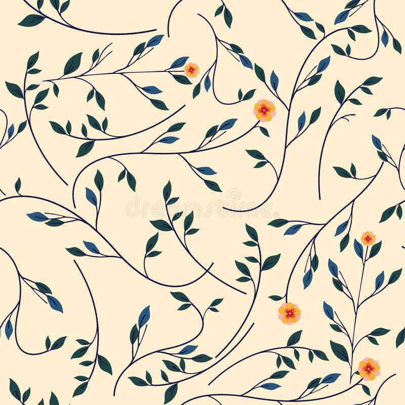 Gullig blom- modell i den lilla blomman Sömlös vektorrosa färgbakgrund royaltyfri illustrationer