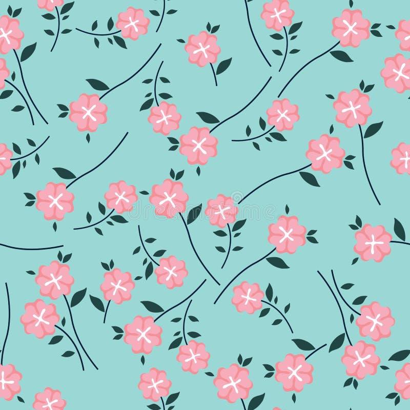 Gullig blom- modell i den lilla blomman Sömlös vektorrosa färgbakgrund vektor illustrationer
