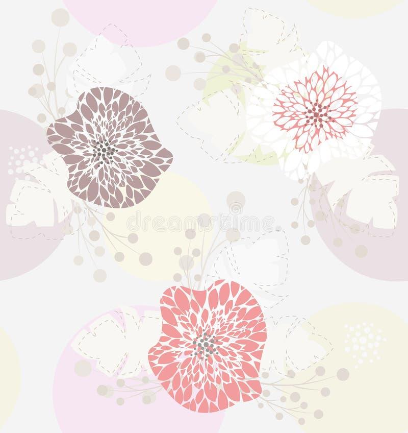 gullig blom- pastellfärgad modellfjäder stock illustrationer