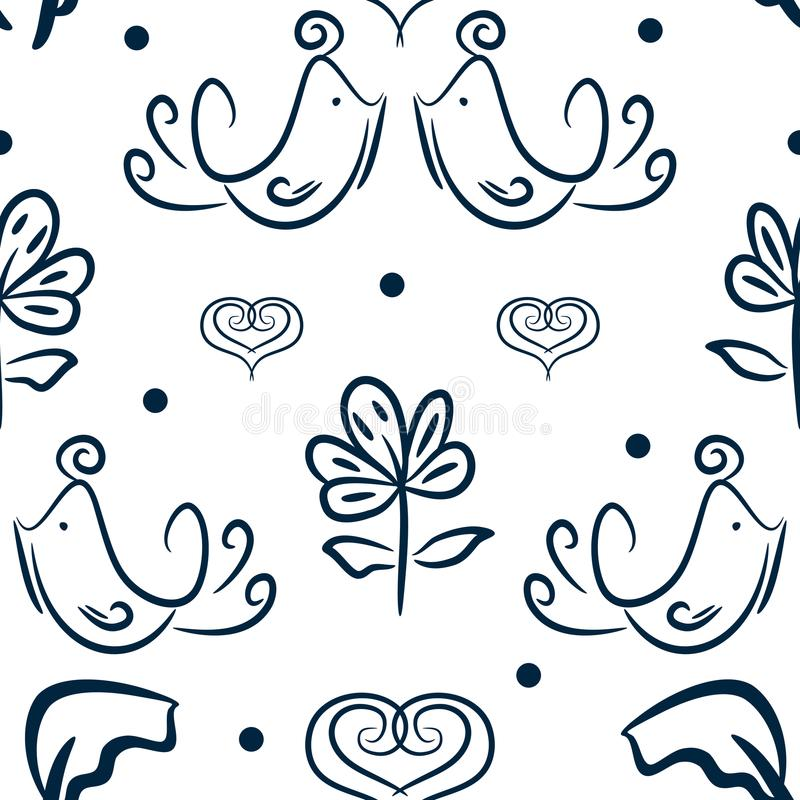 Gullig blom- sömlös modell med fåglar, blommor och hjärtor som dras av handen Skissa, klottra vektor illustrationer
