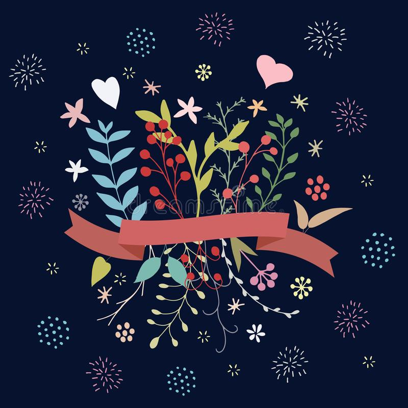 Gullig blom- vårbukett på mörk bliuebakgrund vektor illustrationer