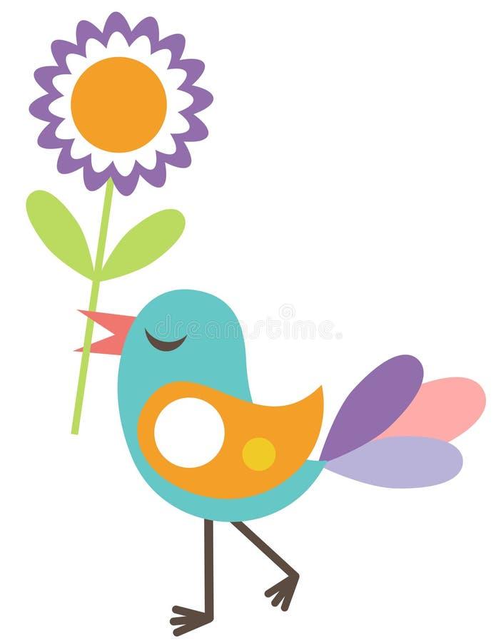gullig blomma för fågel stock illustrationer
