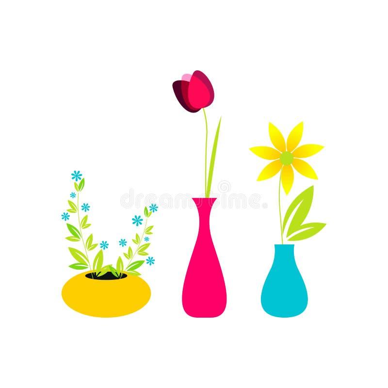 gullig blommavase vektor illustrationer