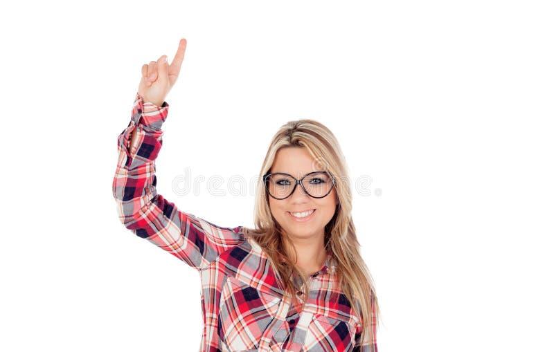 Gullig blond flicka med exponeringsglas som frågar att tala arkivfoton