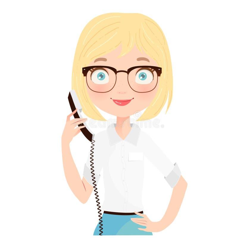 Gullig blond receptionist som rymmer en telefon vektor illustrationer
