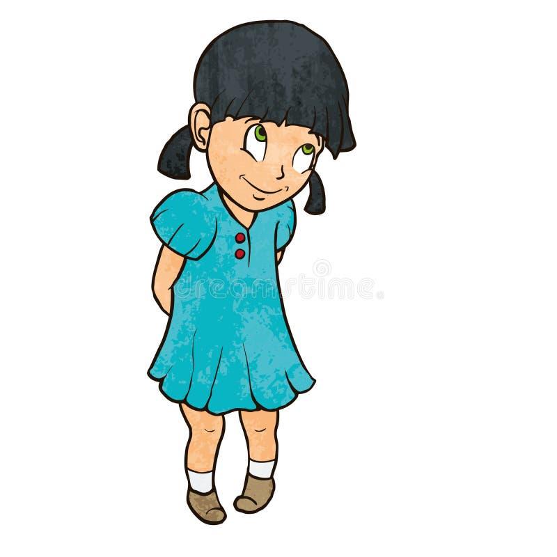 Gullig blyg gladlynt liten flicka i blåttklänning tecknad filmcommandertryckspruta hans illustrationsoldatstopwatch vektor illustrationer