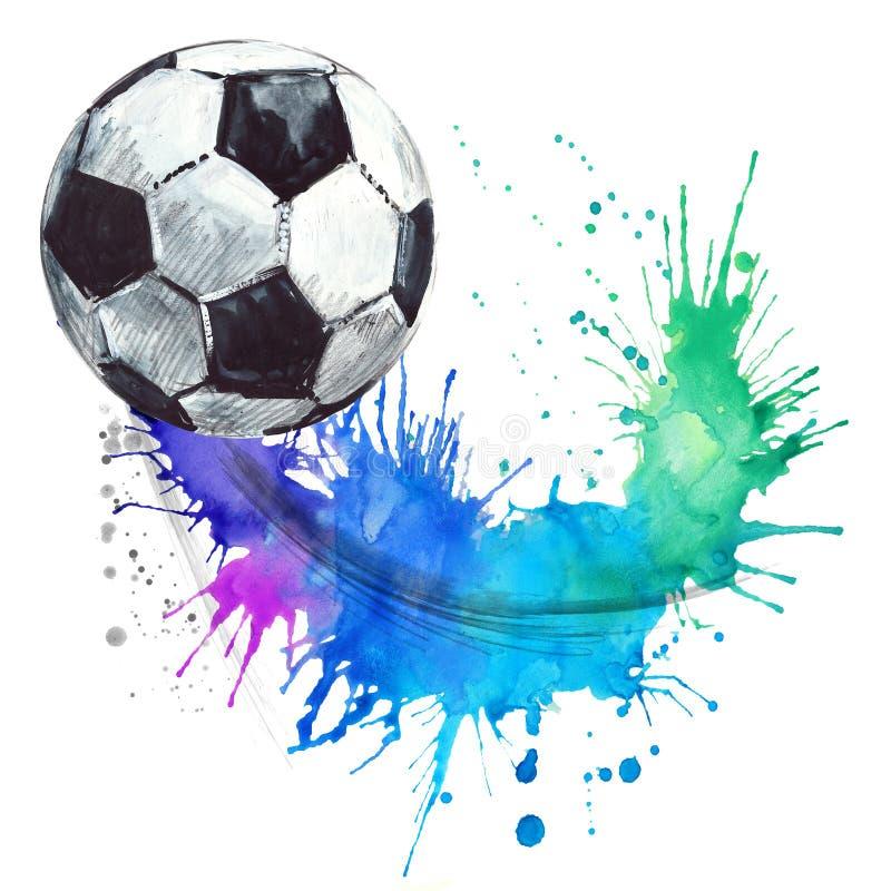 Gullig boll för svinvattenfärgillustrationSoccer fotbollvattenfärgillustration vektor illustrationer
