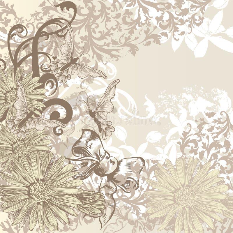 Gullig bröllopbakgrund i blom- tappningstil för design royaltyfri illustrationer