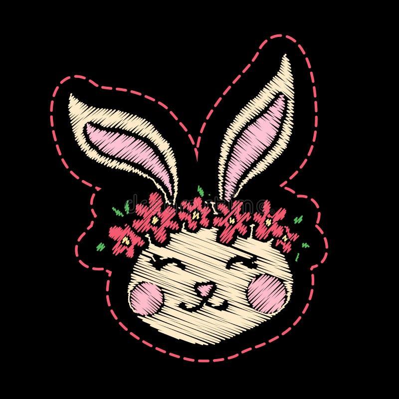 Gullig broderad kanin för ungemodedesign royaltyfri illustrationer