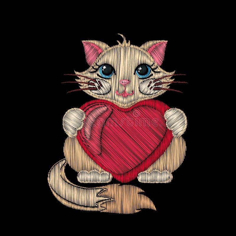 Gullig broderad katt med hjärta för ungemodedesign stock illustrationer