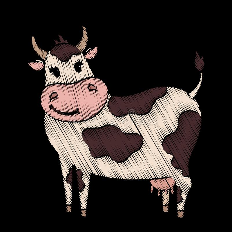Gullig broderad ko för ungemodedesign vektor illustrationer