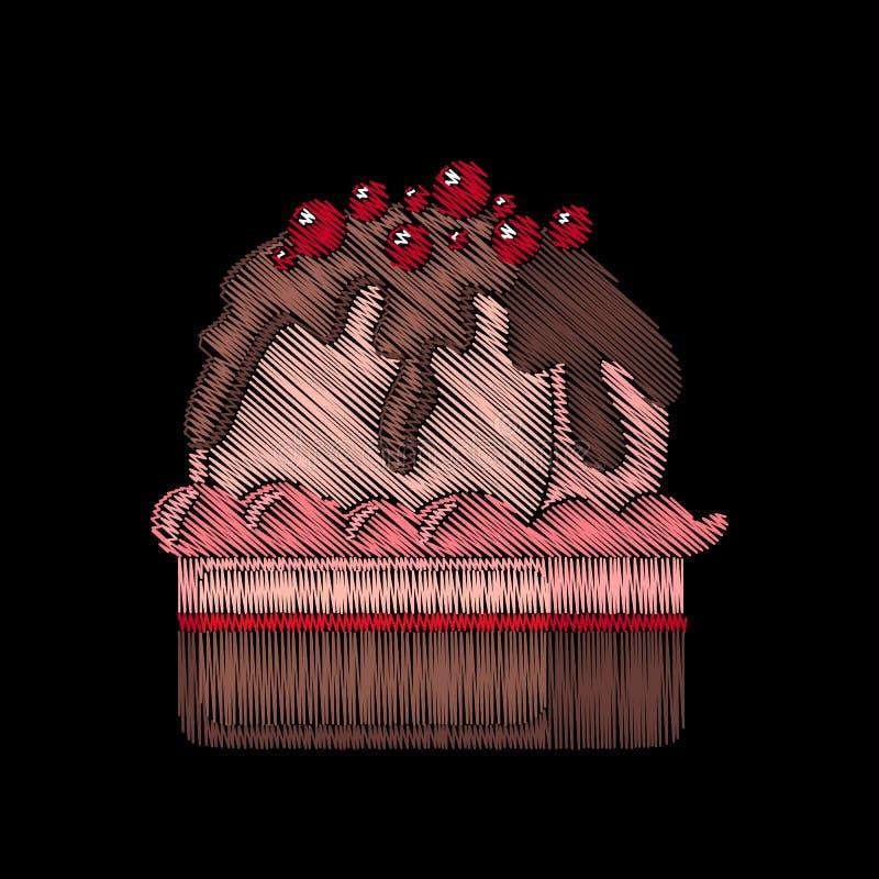 Gullig broderad muffin för modedesign stock illustrationer