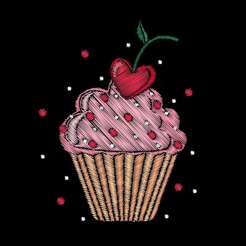 Gullig broderad muffin för modedesign vektor illustrationer