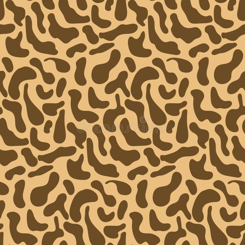 Gullig brun modell med hand drog girafffläckar stock illustrationer