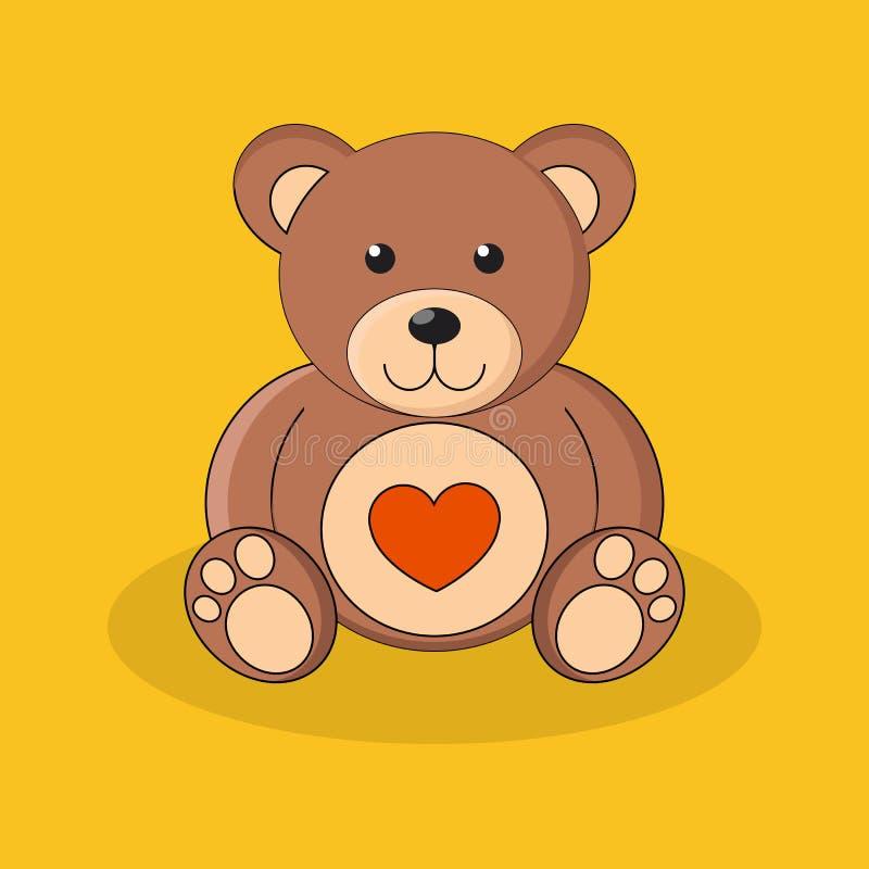 Gullig brun nallebjörn med röd hjärta på gul bakgrund stock illustrationer