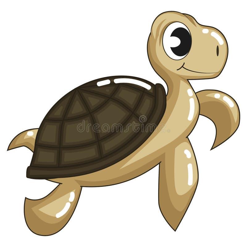 Gullig brun sköldpadda stock illustrationer