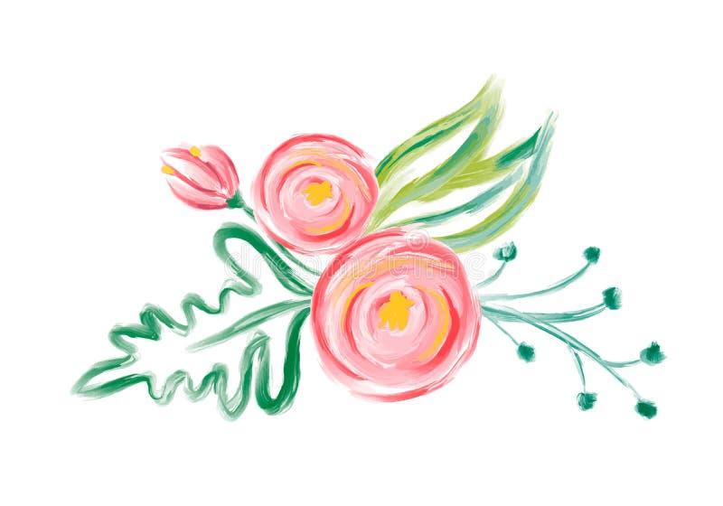 Gullig bukett för blomma för vårvattenfärgvektor Konst isolerad illustration för bröllop- eller feriedesignen, utdragen må vektor illustrationer
