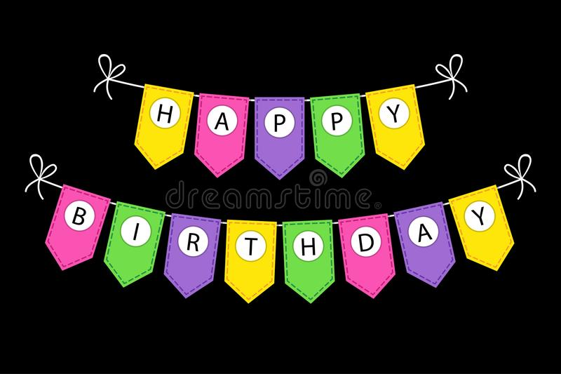 Gullig bunting för den lyckliga födelsedagen sjunker banret med bokstäver royaltyfri illustrationer