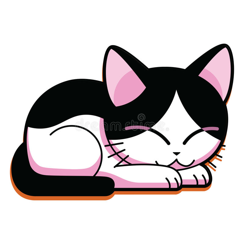 Gullig Cat Sleeping Isolated On White för tecknad film bakgrund royaltyfri illustrationer