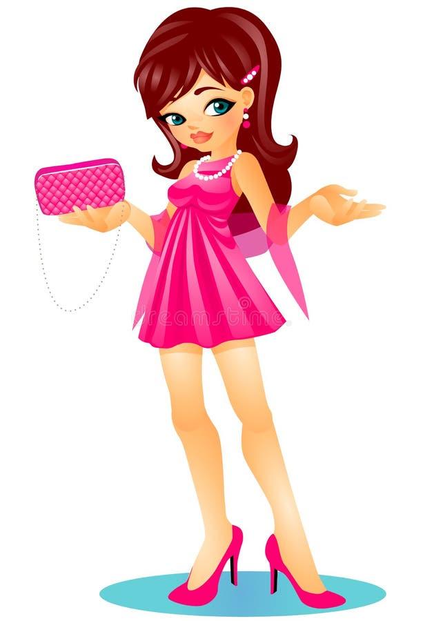 Gullig charmig brunettflicka i höga häl med den eleganta rosa klänningen och att rymma en kopplingpåse royaltyfri illustrationer