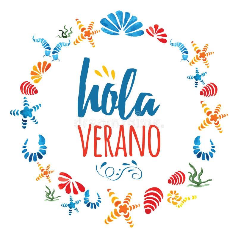 Gullig cirkelram med hand drog färgrika havsskal och textHello sommar i spanisgspråk royaltyfri illustrationer