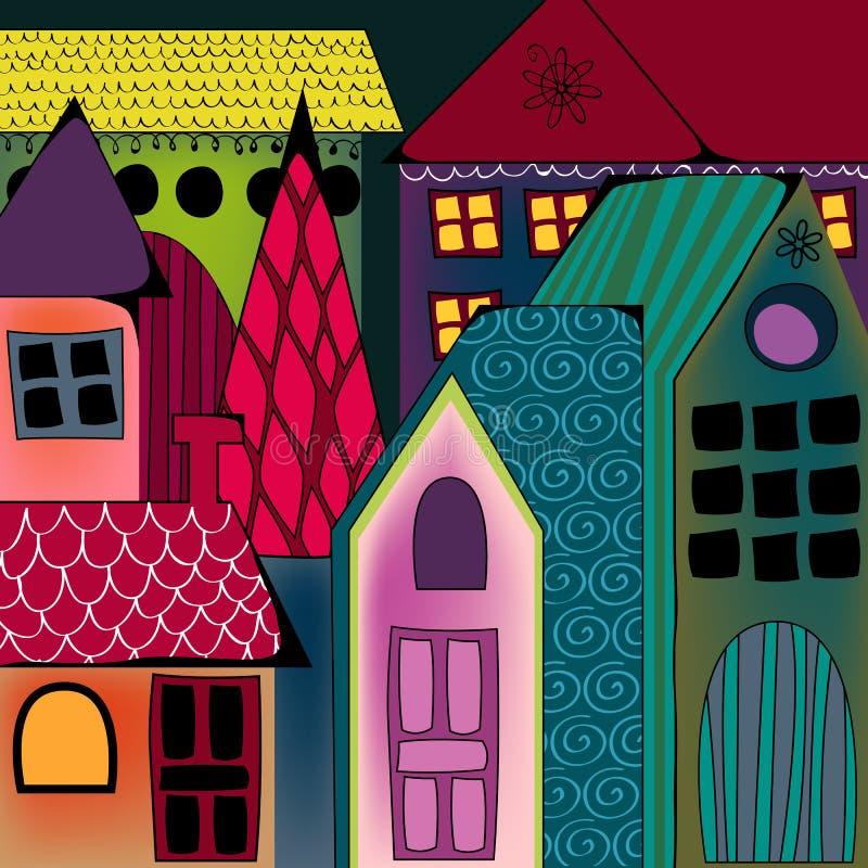 Gullig cityscape vektor illustrationer