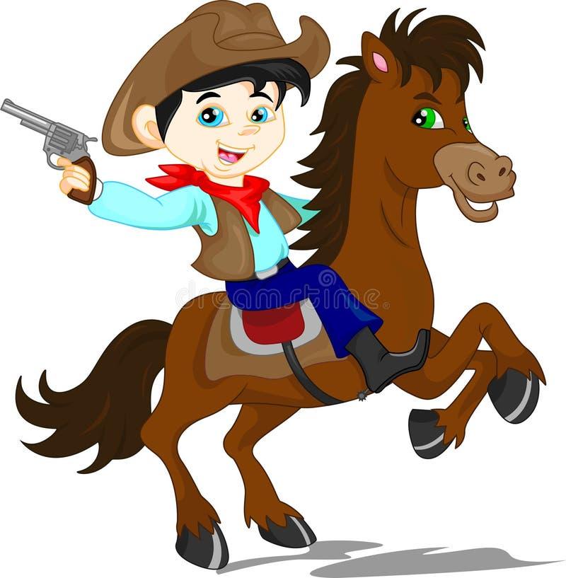 Gullig cowboyungetecknad film royaltyfri illustrationer