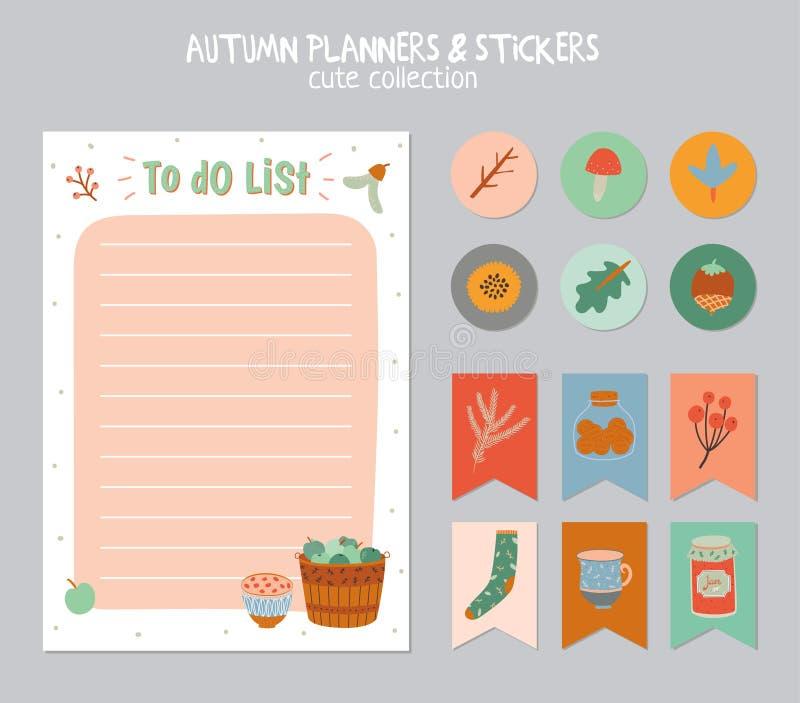 Gullig daglig kalender och att göra listamallen royaltyfria bilder