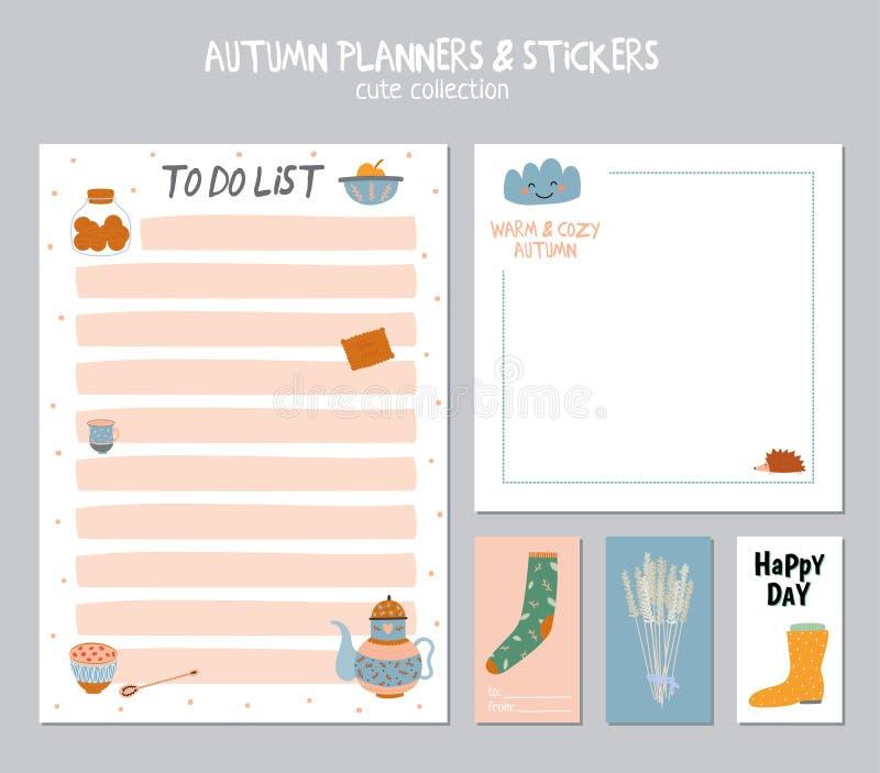 Gullig daglig kalender och att göra listamallen arkivfoto