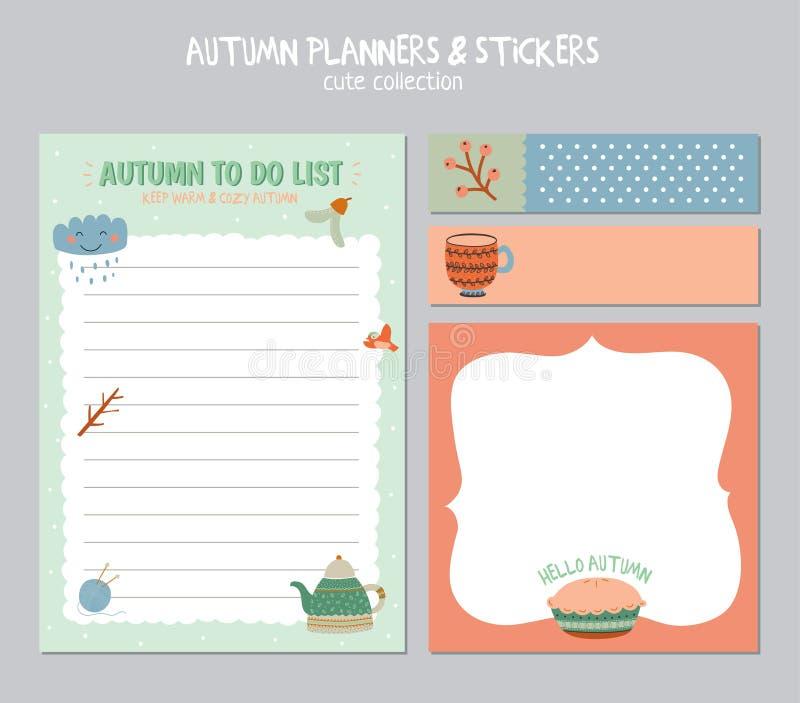 Gullig daglig kalender och att göra listamallen arkivbild