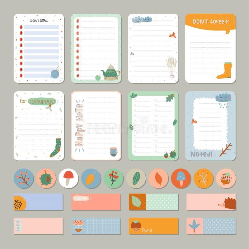 Gullig daglig kalender och att göra listamallen fotografering för bildbyråer