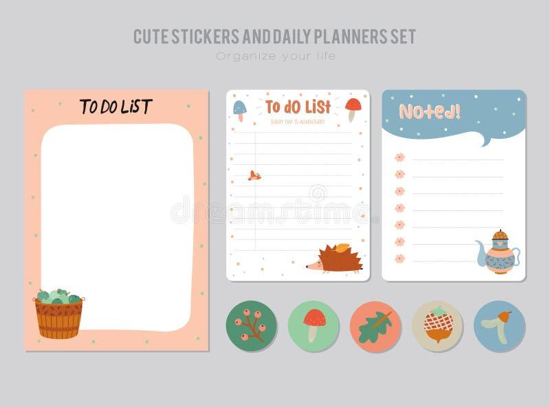 Gullig daglig kalender och att göra listamallen royaltyfri bild
